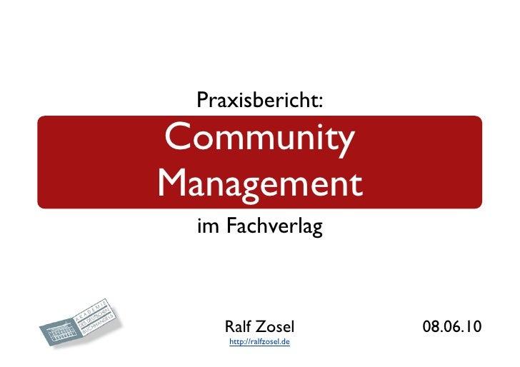 Praxisbericht Community Management  im Fachverlag