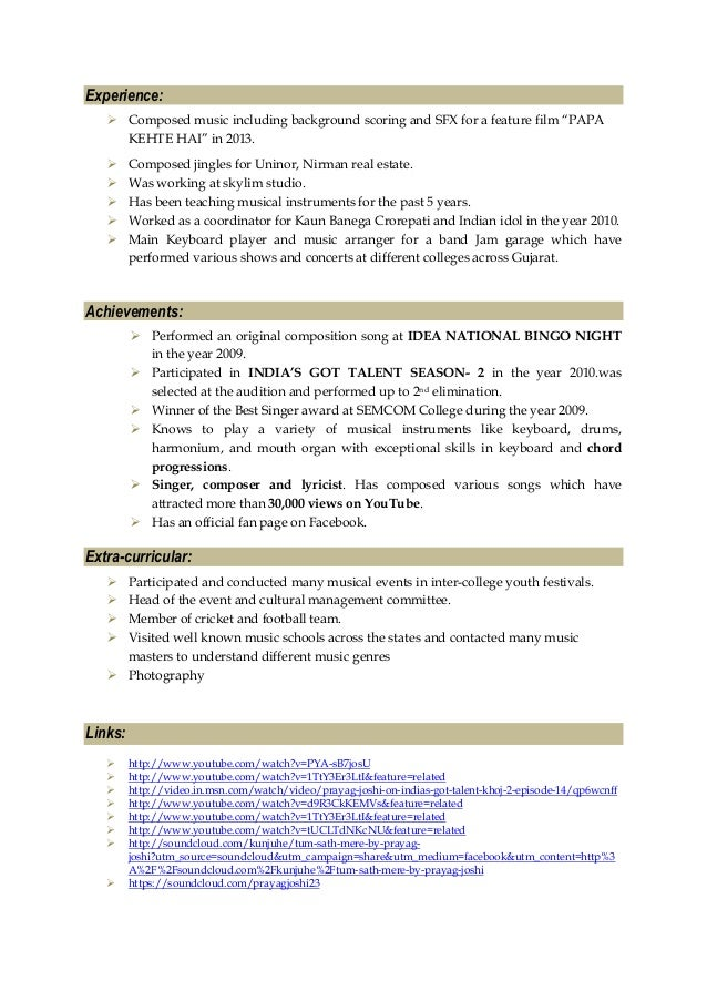 Professional musical theater resume