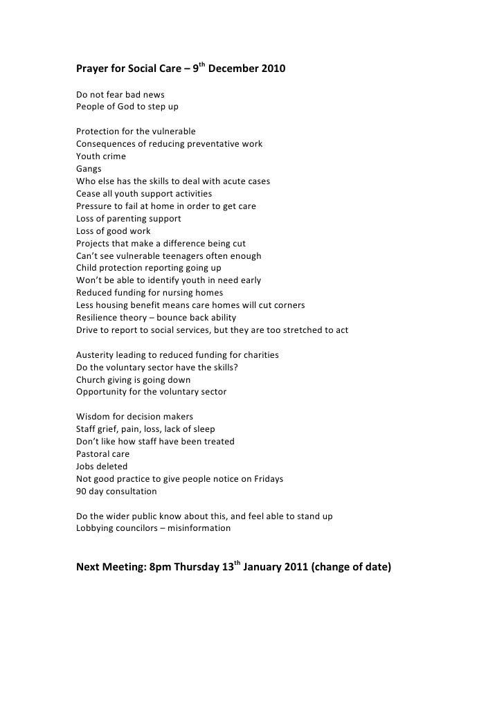 Prayer for social care dec 2010