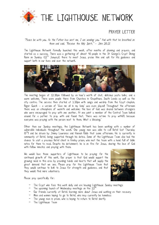 "!  THE LIGHTHOUSE NETWORK PRAYER LETTER ""Peace be with you. As the Father has sent me, I am sending you."" And with that he..."
