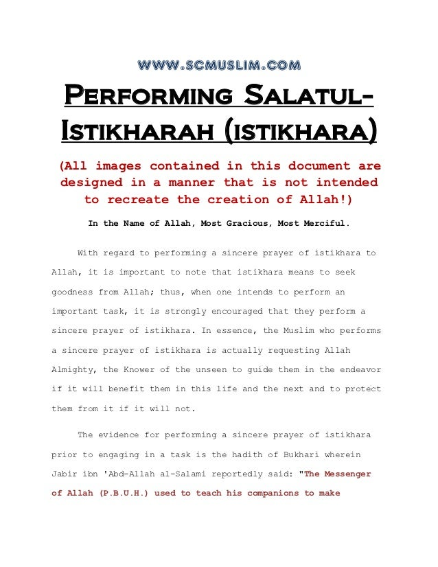 www.scmuslim.com Performing Salatul- Istikharah (istikhara) (All images contained in this document are designed in a manne...