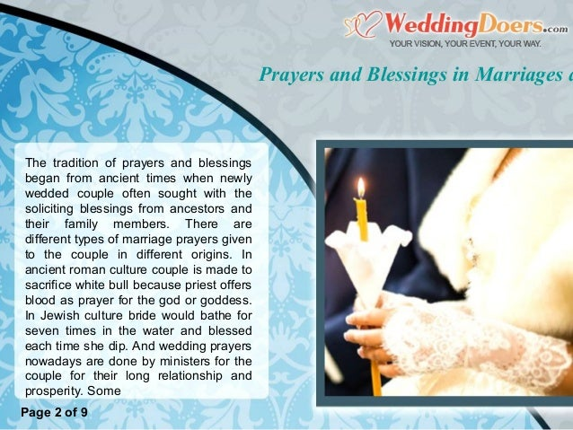 Prayers And Blessings In Marriages And Reception