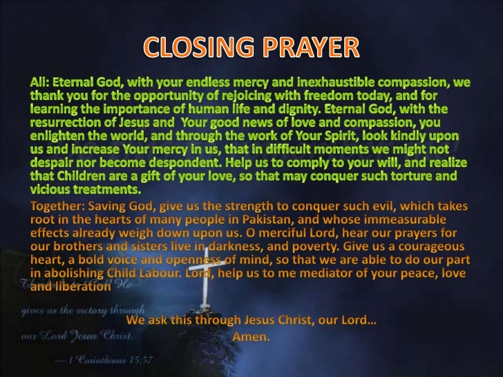 how to say a closing prayer in church