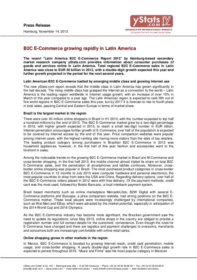 Press Release Hamburg, November 14, 2013  RESEARCH ON INTERNATIONAL MARKETS WE DELIVER THE FACTS YOU MAKE THE DECISIONS  B...