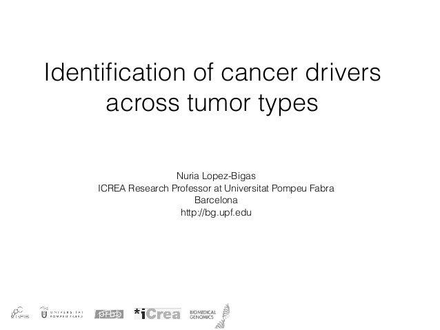 Identification of cancer drivers across tumor types Nuria Lopez-Bigas ICREA Research Professor at Universitat Pompeu Fabra ...