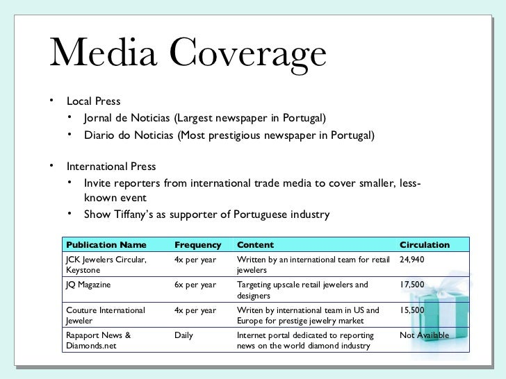 Tiffany co pr plan for Media launch plan template