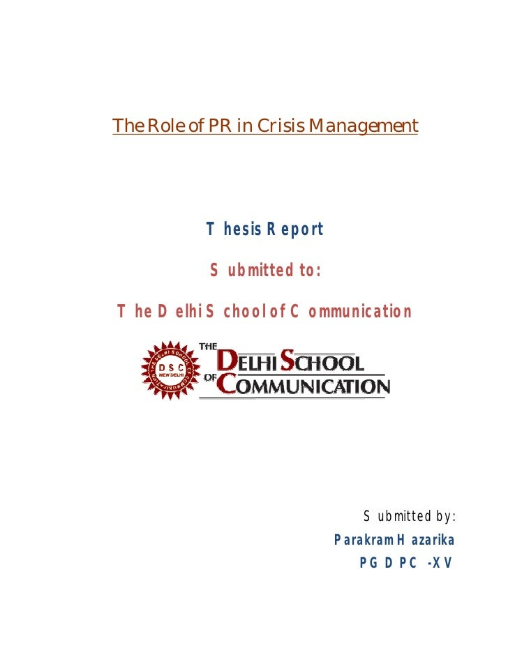 Mass Communication Course - PR and Crisis