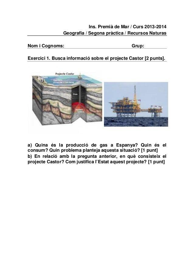 Ins. Premià de Mar / Curs 2013-2014 Geografia / Segona pràctica / Recursos Naturas Nom i Cognoms:  Grup:  Exercici 1. Busc...