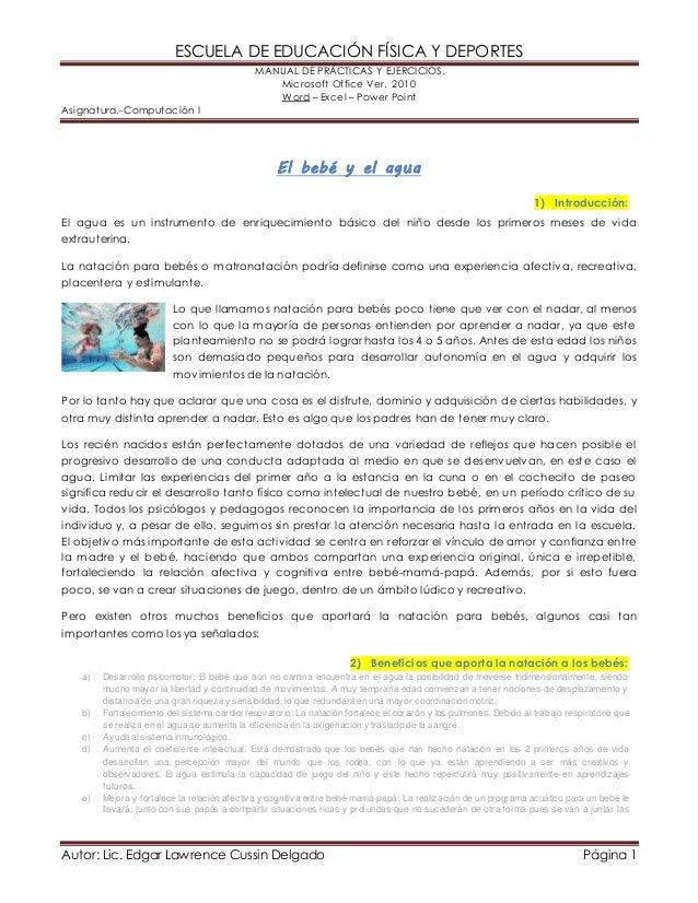 ESCUELA DE EDUCACIÓN FÍSICA Y DEPORTES  MANUAL DE PRÁCTICAS Y EJERCICIOS.  Microsoft Office Ver. 2010  Word – Excel – Powe...