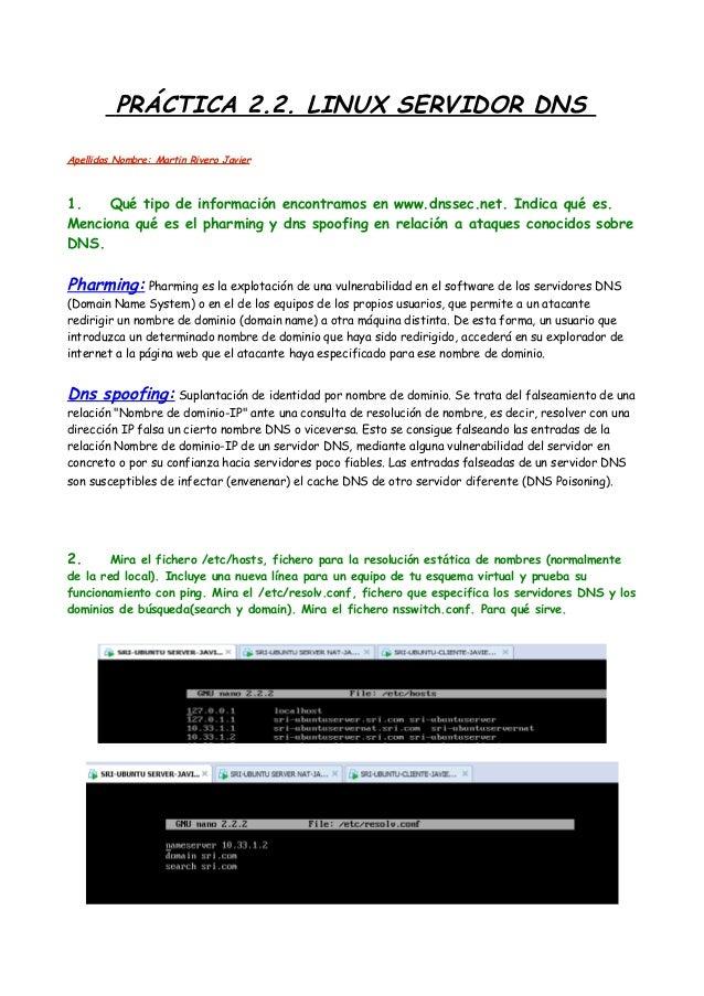 PRÁCTICA 2.2. LINUX SERVIDOR DNS Apellidos,Nombre: Martin Rivero Javier  1. Qué tipo de información encontramos en www.dns...