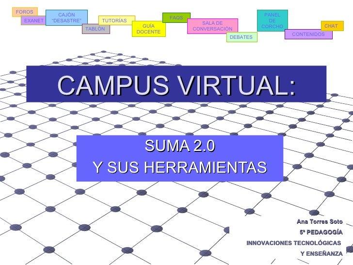 CAMPUS VIRTUAL: SUMA 2.0 Y SUS HERRAMIENTAS Ana Torres Soto 5º PEDAGOGÍA INNOVACIONES TECNOLÓGICAS  Y ENSEÑANZA FOROS EXAN...