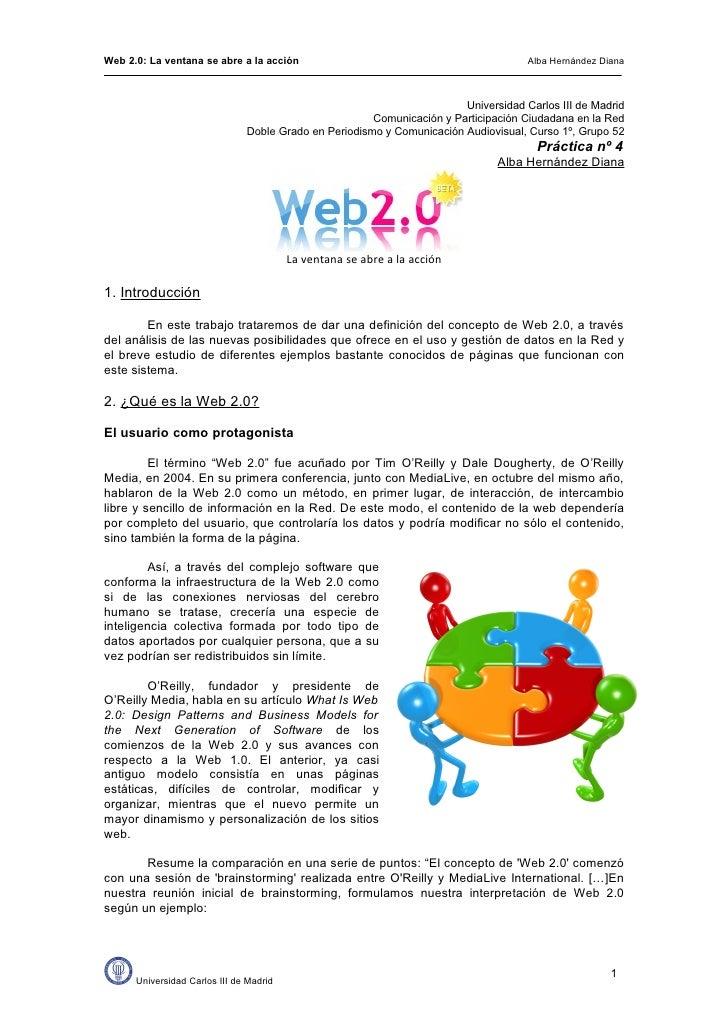 Web 2.0: La ventana se abre a la acción                                              Alba Hernández Diana                 ...