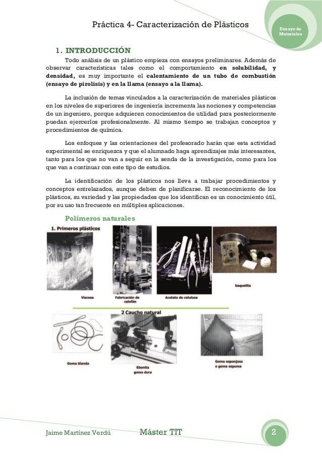 Práctica 4- Caracterización de Plásticos                               Ensayo de                                          ...