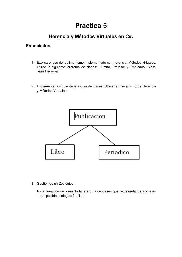 Práctica 5             Herencia y Métodos Virtuales en C#.Enunciados:  1. Explica el uso del polimorfismo implementado con...