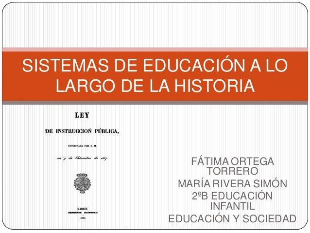 FÁTIMA ORTEGATORREROMARÍA RIVERA SIMÓN2ºB EDUCACIÓNINFANTILEDUCACIÓN Y SOCIEDADSISTEMAS DE EDUCACIÓN A LOLARGO DE LA HISTO...