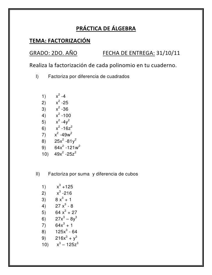 Práctica de factorización 2 año