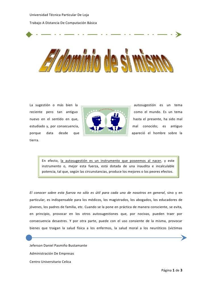 Universidad Técnica Particular De Loja  Trabajo A Distancia De Computación Básica     La sugestión o más bien la          ...