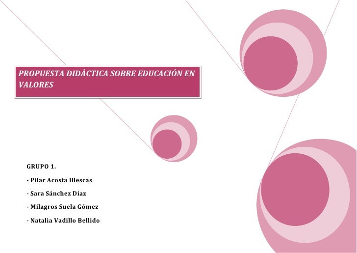 PROPUESTA DIDÁCTICA SOBRE EDUCACIÓN ENVALORES GRUPO 1. - Pilar Acosta Illescas - Sara Sánchez Díaz - Milagros Suela Gómez ...