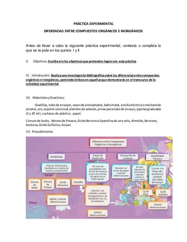 PRÁCTICA EXPERIMENTAL DIFERENCIAS ENTRE COMPUESTOS ORGÁNICOS E INORGÁNICOS Antes de llevar a cabo la siguiente práctica ex...