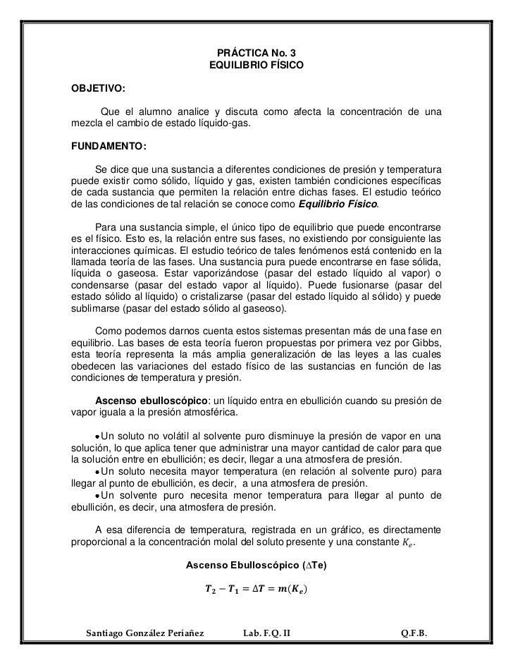 PRÁCTICA No. 3                                EQUILIBRIO FÍSICOOBJETIVO:      Que el alumno analice y discuta como afecta ...