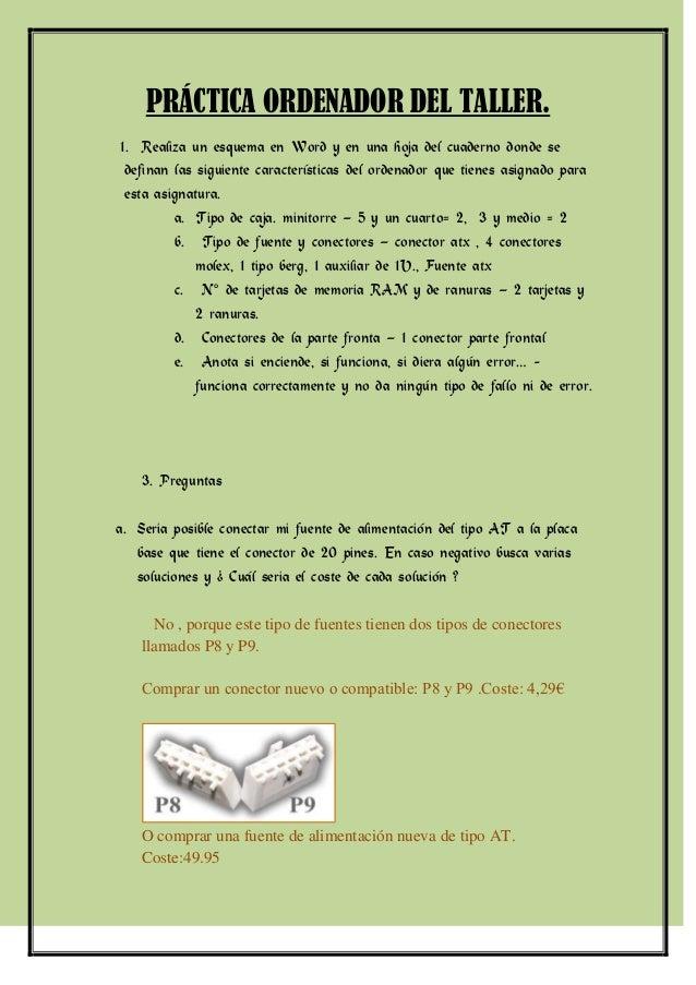 PRÁCTICA ORDENADOR DEL TALLER.1. Realiza un esquema en Word y en una hoja del cuaderno donde se definan las siguiente cara...
