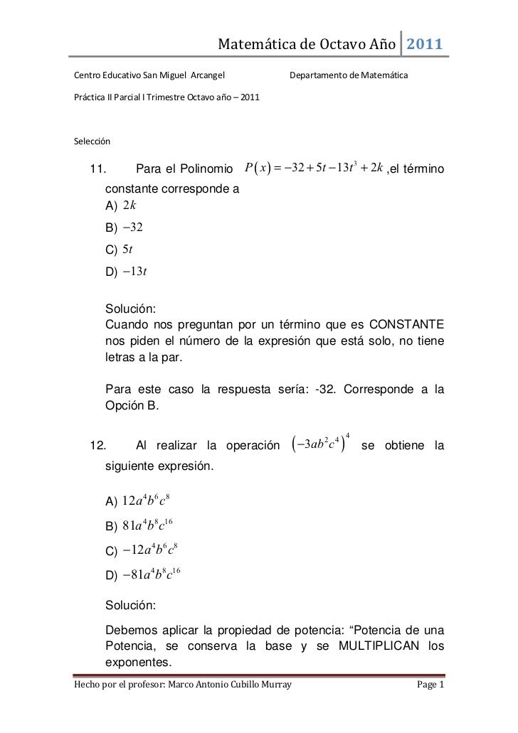 Práctica saint michael matemática de octavo parte 2