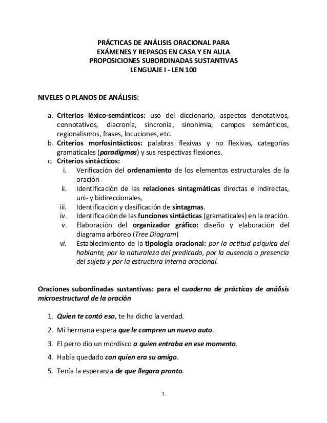 1 PRÁCTICAS DE ANÁLISIS ORACIONAL PARA EXÁMENES Y REPASOS EN CASA Y EN AULA PROPOSICIONES SUBORDINADAS SUSTANTIVAS LENGUAJ...