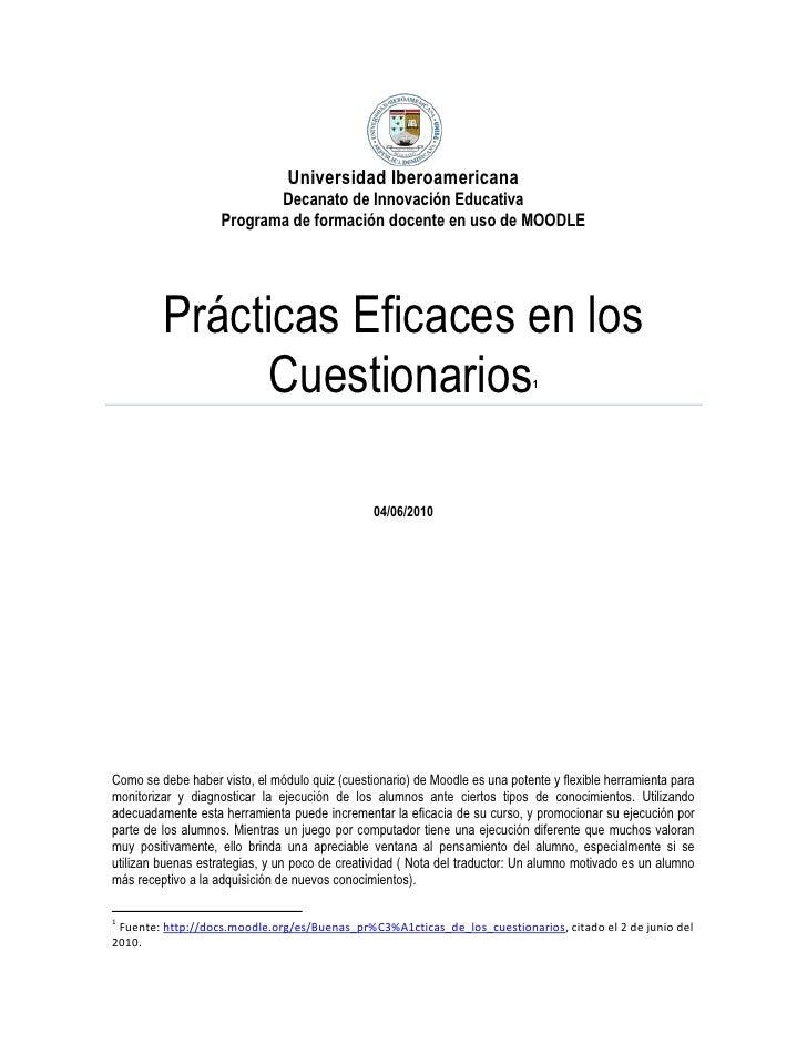 Universidad IberoamericanaDecanato de Innovación EducativaPrograma de formación docente en uso de MOODLE Prácticas Eficace...