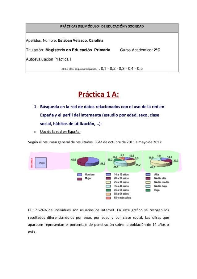 PRÁCTICAS DEL MÓDULO I DE EDUCACIÓN Y SOCIEDADApellidos, Nombre: Esteban Velasco, CarolinaTitulación: Magisterio en Educac...