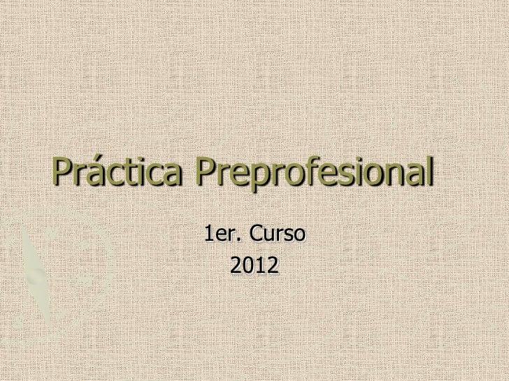 Práctica Preprofesional         1er. Curso           2012