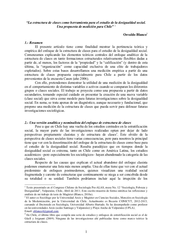 La estructura de clases como herramienta para el estudio de la desigualdad social. Una propuesta de medición para Chile.