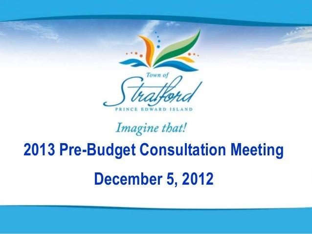 2013 Pre-Budget Consultation Meeting         December 5, 2012