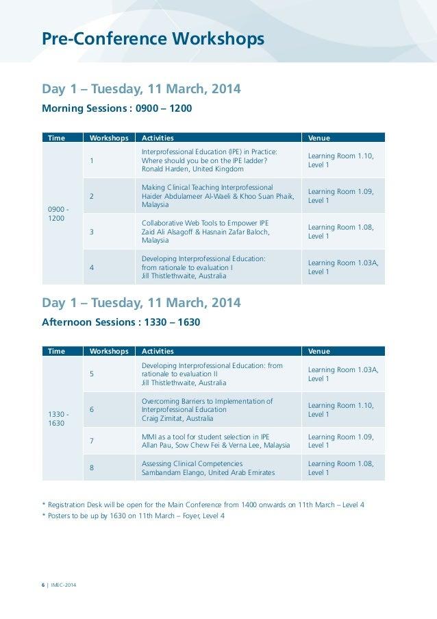 IMEC 2014 Pre conference workshops
