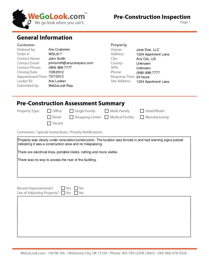 WeGoLook Field Services - Pre-Construction Onsite Inspection Sample Report