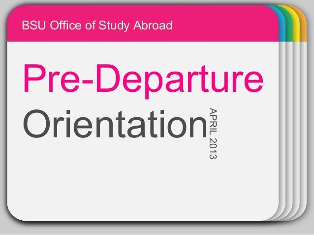 Pre departure orientation