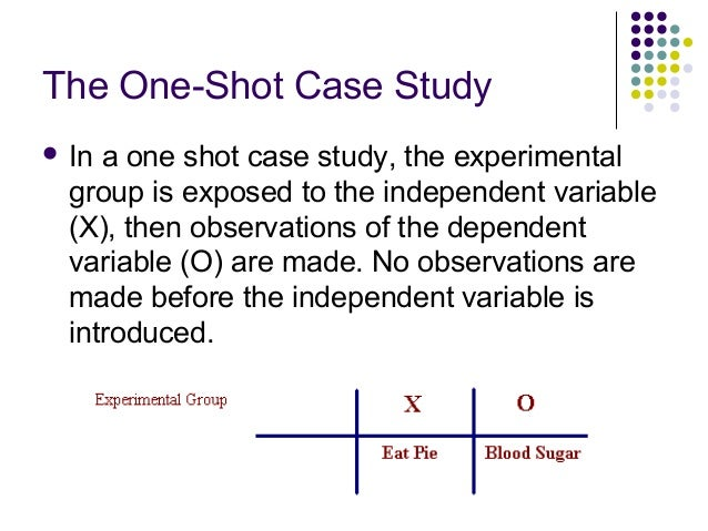 pre experimental design one shot case study Types of pre-experimental design: one-shot case study design  exercise extreme caution in interpreting and generalizing the results from pre-experimental studies.