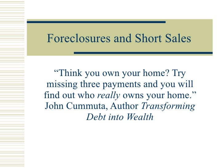 Foreclosures and Short Sales November 2008