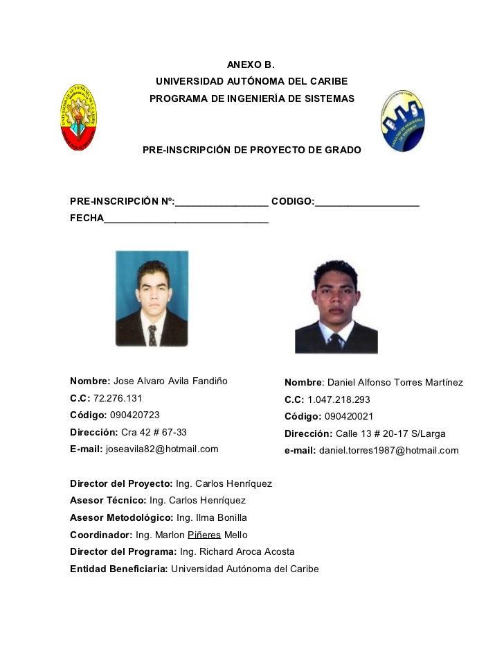 ANEXO B.                    UNIVERSIDAD AUTÓNOMA DEL CARIBE                   PROGRAMA DE INGENIERÍA DE SISTEMAS          ...