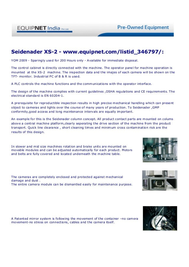 Seidenader XS-2 - www.equipnet.com/listid_346797/:YOM 2009 - Sparingly used for 200 Hours only - Available for immediate d...