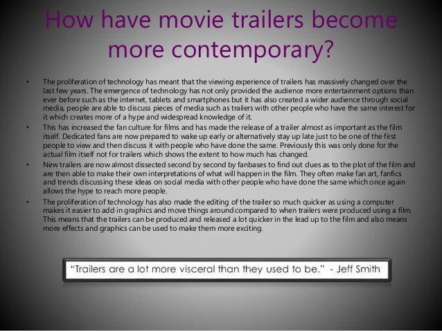Opinion about film trailers? What attracts you to watch a film?