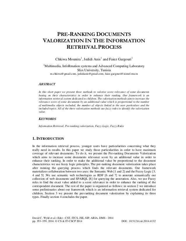 PRE-RANKING DOCUMENTS VALORIZATION IN THE INFORMATION RETRIEVAL PROCESS