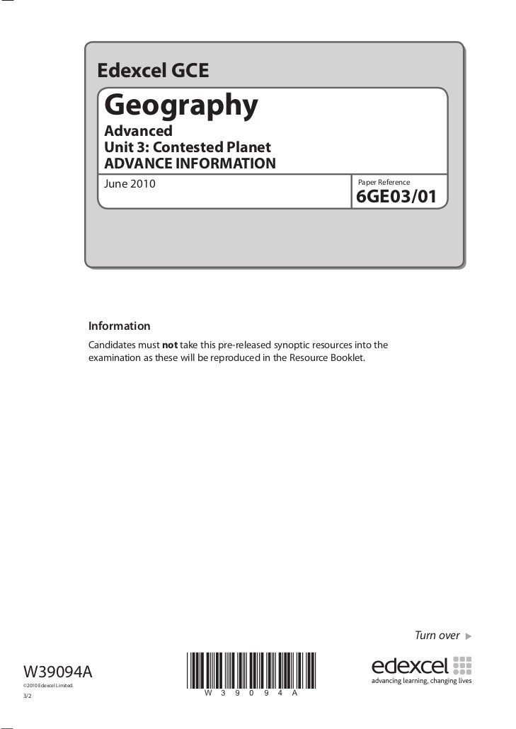 Edexcel GCE                             Geography                             Advanced                             Unit 3:...