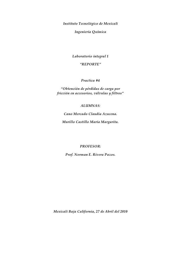 Instituto Tecnológico de Mexicali               Ingeniería Química                Laboratorio integral 1                  ...
