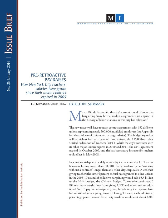 PublishedbytheManhattanInstitute IssueBriefIssueBrief EXECUTIVE SUMMARY M ayor Bill de Blasio said the city's current roun...