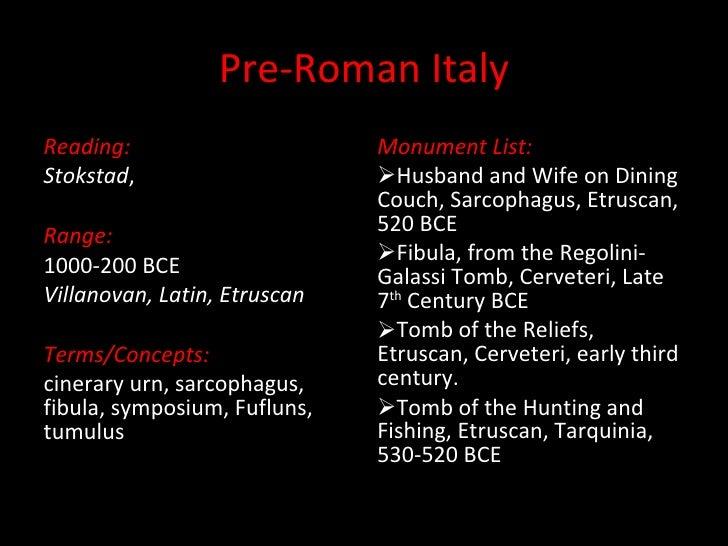 Pre-Roman Italy <ul><li>Reading: </li></ul><ul><li>Stokstad ,  </li></ul><ul><li>Range: </li></ul><ul><li>1000-200 BCE </l...