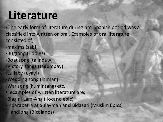 tagalog poems during spanish period The pre-spanish literature is oldest forms of philippine literature that emerged in the pre-spanish period during the pre-spanish period.