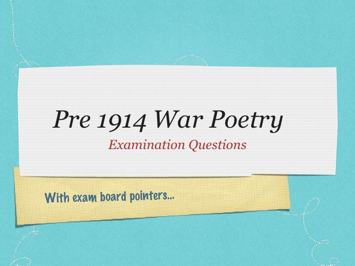 Pre 19th war poetry sample questions