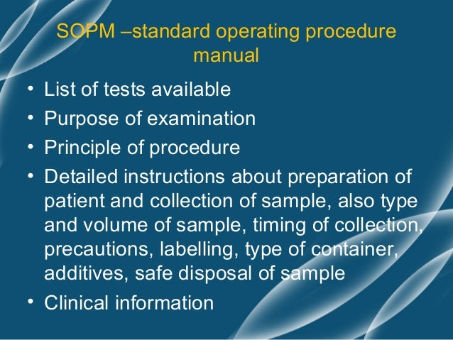 standard operating procedure manual for clinical laboratory