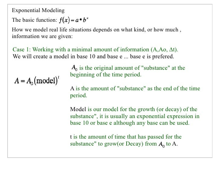 Exponential Modeling The basic function: How we model real life situations depends on what kind, or how much , information...