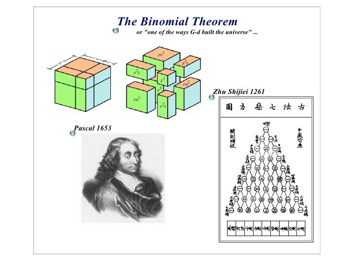 """The Binomial Theorem                  or """"one of the ways G-d built the universe"""" ...                                     ..."""
